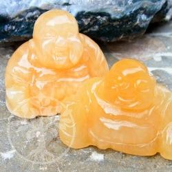 Orangencalcite Buddha Steinfigur