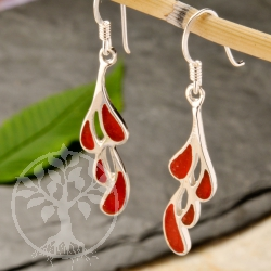 Coral Silver Drops Earring