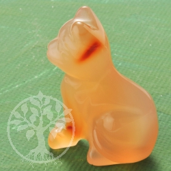 Carnelian Gemstone Cat Figure