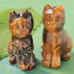 Tigers Eye Gemstone Cat Figurine