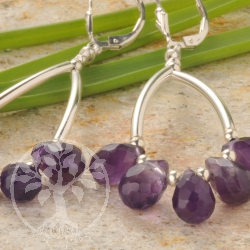 Silver Earrings Amethyst Dewdrops