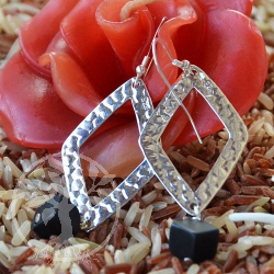 Onyx Silver Earrings Rhombus