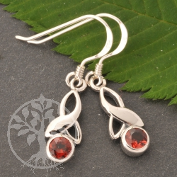 Garnet Earrings Faceted Stones Sterlingsilver