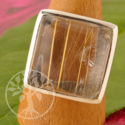 Rutilated Quartz Ring Silver