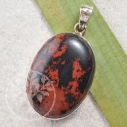 Mahagoni Obsidian Silberanhaenger