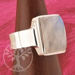Rainbow Moonstone Silver Ring Size 59