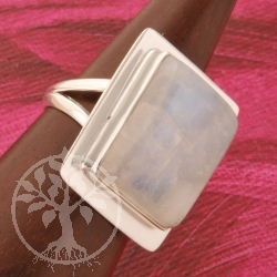 Rainbow Moonstone Silver Ring Rectangle