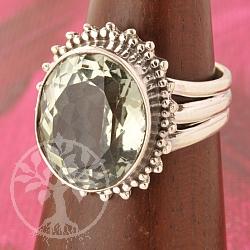 Prasiolithe Silver 925 Ring Green Amethyste.
