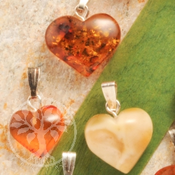 Amber Heart Pendant with loop