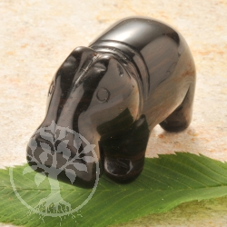 Obsidian Hippo Gemstone Figure