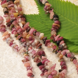 Tourmaline Chips Necklace colorful 70cm