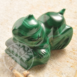 Malachite Gemstone Kitten Figure