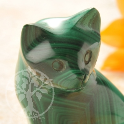 Malachite Gemstone Cat unique