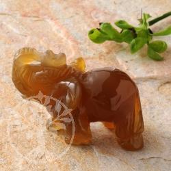 Carnelian Gemstone Elephant Figure