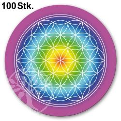 Flower of Life Sticker Rainbow 100 Pieces