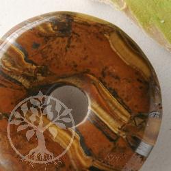 Tiger Eye Iron Donut 40mm Gemstone Pendant