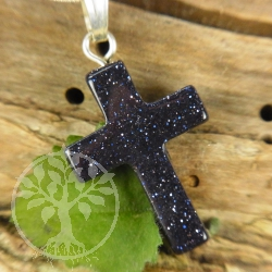 Blue Stone Cross Pendant small