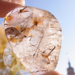 Rutilated Quartz flat semi-precious stone 23-30mm*8mm