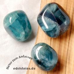 Blau Fluorit Trommelsteine 3 Stück