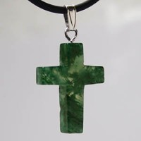 Moss Agate Cross Pendant small