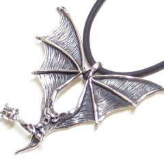 Bat with Rose pendant Sterlingsilver TK32