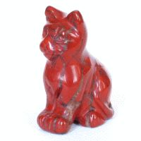 Roter Jaspis Edelstein Gravur Katze ca. 40mm