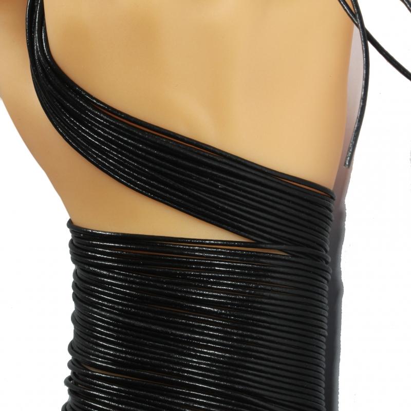 Leather String Basic for pendants black 1 Mtr