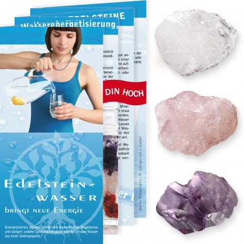 Wassersteine Rohstein-Set 2 Rosenquarz, Bergkristall, Amethyst 500Gr.