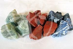 Rohstein-Set 3 roter Jaspis, Aventurin, Sodalith Wassersteine 500Gr.