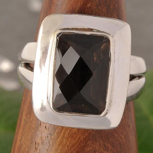 Silver Ring Smoky Quartz