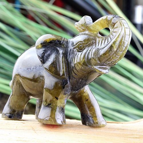 Elefant Labradorit Steinfigur 82