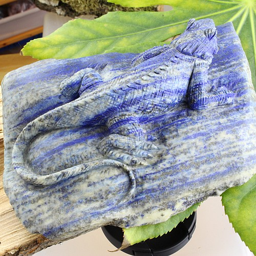 Lizard Engraving Lapis Lazuli
