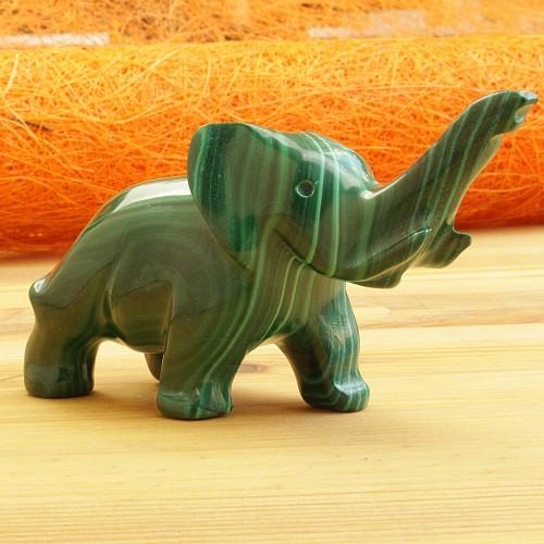 Elefant Elli Malachit Steinfigur 015