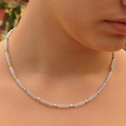 Chalcedonkette Edelsteinkette mit Silberperlen in Walzenform
