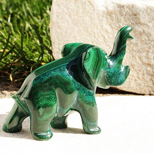 Malachit Edelstein Elefant Josha 11