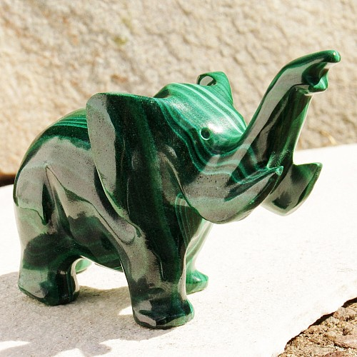 Elefant Malachit Steinfigur 012