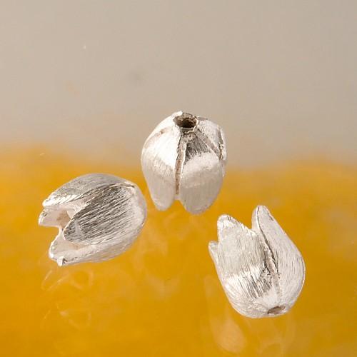 Blütenperle gebürstet 9 mm Silberperle als Blüte Silber925