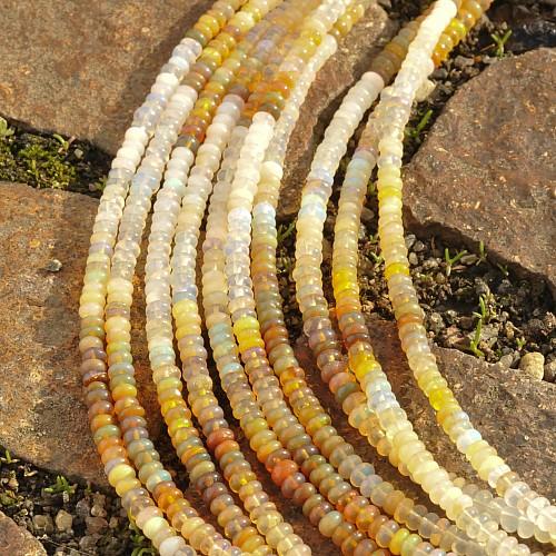 Opal bunt Halskette Äthiopien Opal Welo Silberverschluss 925