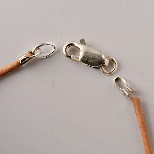 Lederbandverschluss, Verschluss für 1,5-2mm Lederband 925er Silber zum Kleben