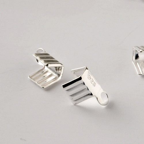 Clasp Set Silver 925 for 3-4mm String or Leather Ribbon