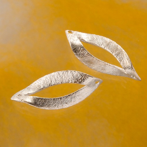 Curved silver bead oval 925 silver finding