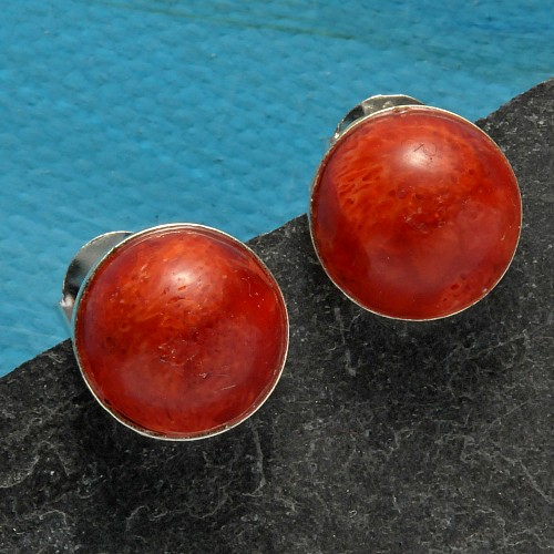 Rote Koralle Ohrstecker Silber Halbkugel 10