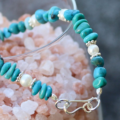 Turquoise Beads Bracelet Sterling Silver Mermaid