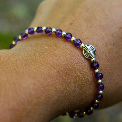Amethyst Bracelet Spiral Sterling Silver