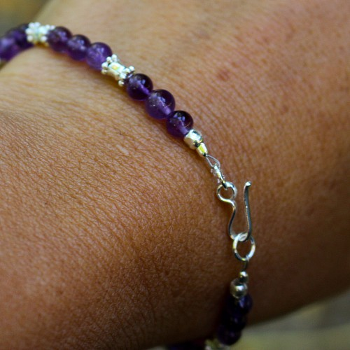 Amethyst Bracelet Three Pair Sterling Silver