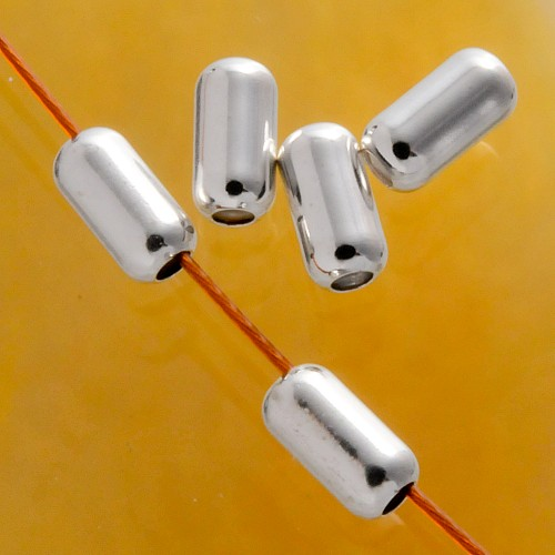 Zylinder Längsperle 6x3mm Silberperle runde Enden