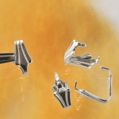 U-shaped Crimp Bail Fleur De Lis 925 Silver