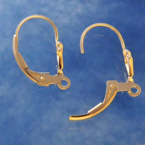 Gold Leverback Fleur De Lis with Ring Gold-Filled 14K 1/20