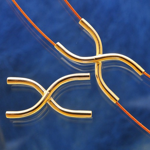 X Perle S-Form Röhrchen in X-Form, 20x1,5mm, Goldfilled 1/20 14K