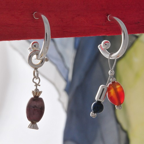 Stud Earring Creole with Ball 925 Silver